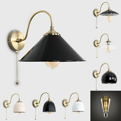 Classic Antique Brass Curved LED Wall Light Fitting + Vintage Filament Lightbulb