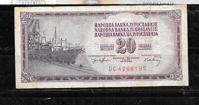 Yugoslavia #85 1974 Vg Circ 20 Dinara Banknote Paper Money Currency Bill Note