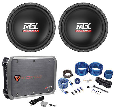 "(2) MTX Terminator TN12-02 12"" 800w Car Audio Subwoofers+Mono Amplifier+Amp Kit"