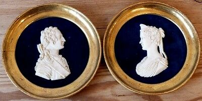 """Beautiful § rare pair of Portraits (LOUIS 15 and his wife) is """"sort of bone"""" 19t"""