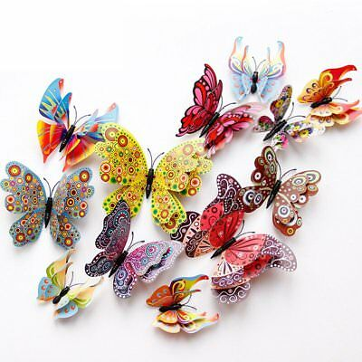 12Pcs 3D DIY Butterfly Wall Stickers PVC Kid Room Decal Home Decoration Decor