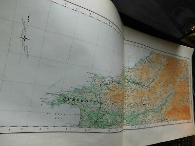 Pembroke To Brecon-Prescelly Wales:rare Elongated Os Map-1922 Topographic Colour