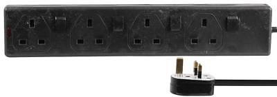 4 Way Individually Switched Extension Lead, 5m, Black