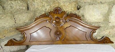 """46.5"""" Antique French Hand Carved Pediment Architectural Crown Walnut Wood Crest"""
