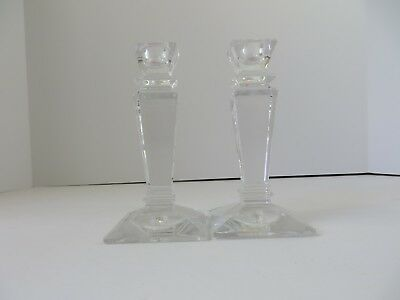 """Tyrone Lead Crystal Square Candle Holder Pair 6"""" Tall Ireland  #6941"""