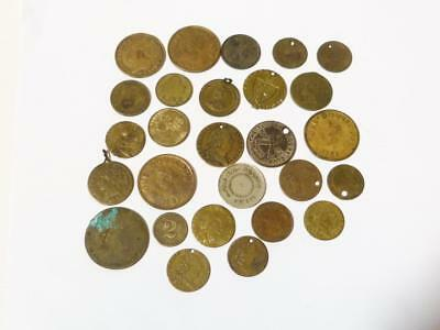 27 Brass Tokens Doubloon George III Spade G Gaming Menton Casino  ALL SORTS #C5