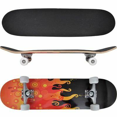 Skateboard Ovale Planche à roulettes Skate-board 9 Couches Erable  Flammes 8''#