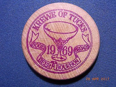 Holztoken USA 1969 Krewe of Tucks, lila, Beer, Bourbon, ###########