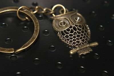 """OWL KEYCHAIN Full Metal Antique Bronze color 1.25"""" tall Wisdom Key chain Gift US"""