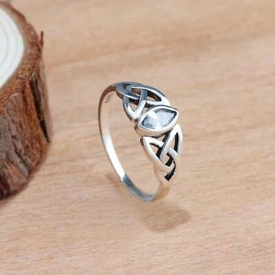 New Vintage Solid Sterling Silver Celtic Knot White Swarovski Crystal Rings#M-Q
