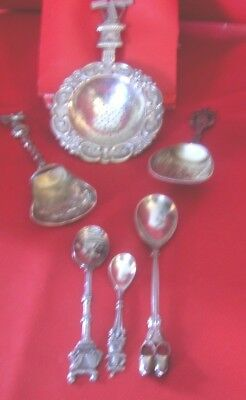 6 Silver Plate Dutch Sifter Shovels Demi Spoons Windmill Shoes Couple Water Pail