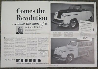 1948 Keller Automobile Convertible & Station Wagon Showroom Poster wz1404