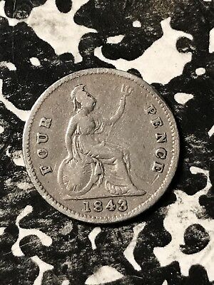1843 Great Britain 4 Pence Fourpence Lot#X5290 Silver!