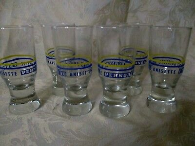 6 verres anciens PERNOD ANISETTE 13,5 cm  PUBLICITAIRES BAR BISTROT  TBE