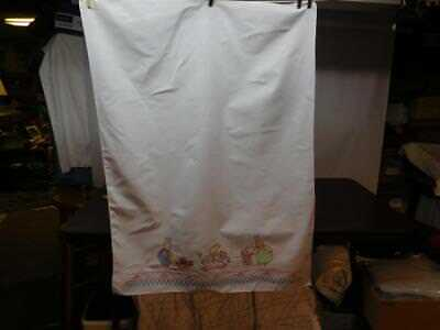 """Vintage Baby Nursery Sheet Cross Stitched & Embroidered Rabbits & Toys 33"""" X 44"""""""