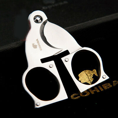 Cool COHIBA Pocket Stainless Steel Double Blades Cigar Cutter Scissor Tool #233