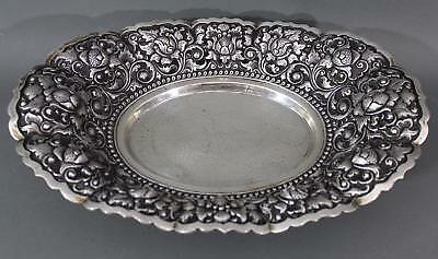 Antique 19thC Continental .800 Silver Repousse Hand Chased Strawberry Basket