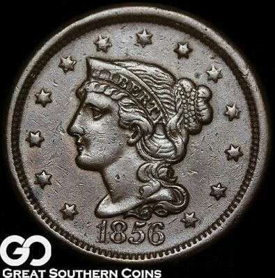 1856 Large Cent, Braided Hair