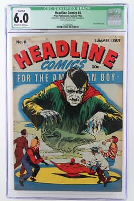 Headline Comics #8 - CGC 6.0 FN - Qualified -PRIZE 1944- Classic Hitler cover!!!