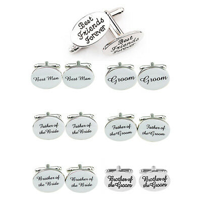 OVAL Wedding Cufflinks Silver Engraved Groom Best Man Usher Page Gift UK
