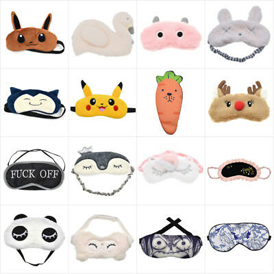 Plush Sleeping Blindfold Eyes Mask Travel Eye Shade Cover Eyeshades Soft Padded