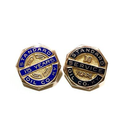Vtg Standard Oil Company KY Kentucky 10 & 15 Years Service Employee Badge Pins