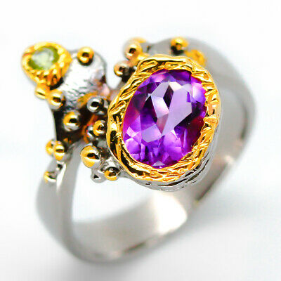 Special Price! Natural Amethyst 9x7mm. 925 Sterling Silver Ring / RVS14
