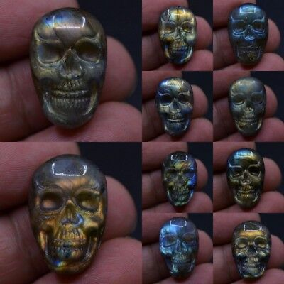 23mm Carved labradorite skull cab cabochon *each one picture*