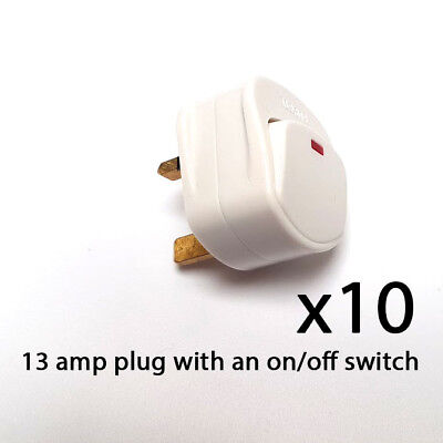Mains Plug Top with switch on/off 13A Amp Fused switched neon light white x 10