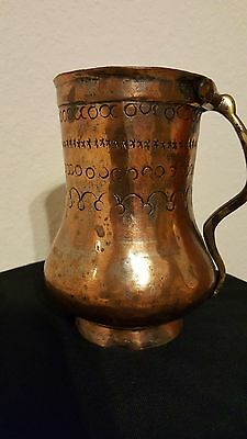 "Persian brass copper tea or water pot antique authentic, 7"" hand engraved"