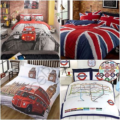 London Bus England Uk Union Jack Duvet Cover Sets Single Double