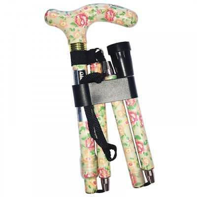 Folding & Extendable Patterned Walking Stick - Floral Blossom - *QUALITY* Flower