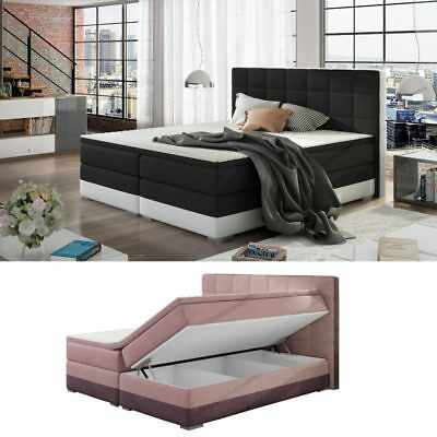 boxspringbett 180x200 wei bettkasten hotelbett bett topper led rgb neu 140 160 chf. Black Bedroom Furniture Sets. Home Design Ideas