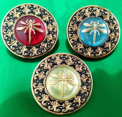 Collection of 3 Glass Buttons #G856 - RARE - LARGE (34 mm) - WOW!!!