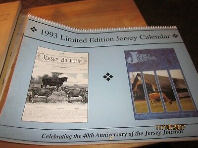 1993 limited ed. JERSEY CALENDAR pictues of [jersey cattle]