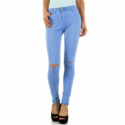 DESTROYED HIGH WAIST SKINNY DAMEN JEANS XL/42 Lila 7021