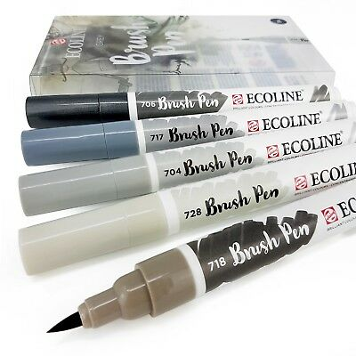 Set of 5 Royal Talens Ecoline Liquid Watercolour Drawing Brush Pens - Grey