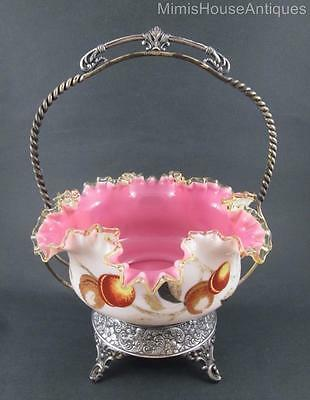 Victorian BRIDE'S BASKET - cased Pink & White Bowl, Fruit decor - Webster frame