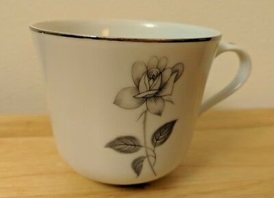 Queens Royal Fine China Gray Rose COFFEE CUP Japan Platinum Shadow Rose - Chip