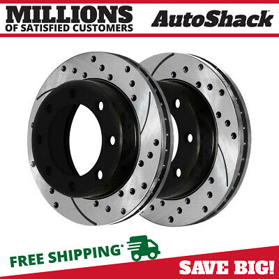 Rear Drilled Slotted Rotors Pair Fits 99-2006 Chevrolet Silverado 1500 56827 2