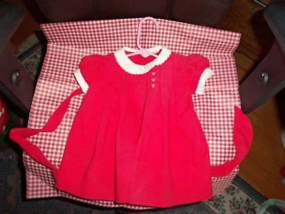 Vintage dress girls 50s Nannette tie Red EMBRODRIED  cherries buttons doll cute