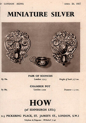 Ad Lot Of 2 1957 -65 Ads How Silver Miniature Sconce Chamber Pot 1662 Tankard