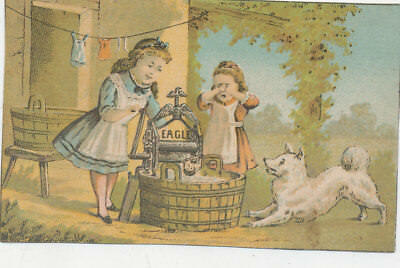 C7951  Victorian Trade Card The Eagle Wringer Washing Machine Children And Dog