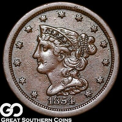1854 Half Cent, Braided Hair, Nice Early Copper