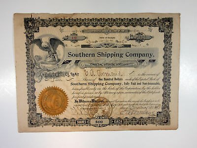 GA. Southern Shipping Co., 1937 10 Shrs I/U Stock Certificate, Fine-VF condition