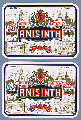 2 Vintage unused LEROUX & Co. ANISINTH labels Philadelphia, Pa. 2354