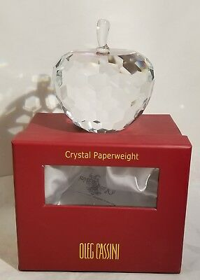 Oleg Cassini Crystal Clear Apple Paperweight New Free Shipping