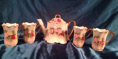 Antique Hand Painted Signed Z S & Co Teapot & 4 Demitasse Cups Pink Roses
