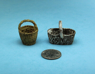 Dollhouse Miniature Set of 2 Faux Wicker Baskets with Handles #WFG1639