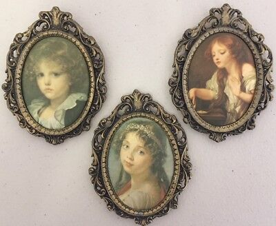 VINTAGE SET of 3 ITALIAN SILK PICTURES IN BRASS FRAMES in EXC